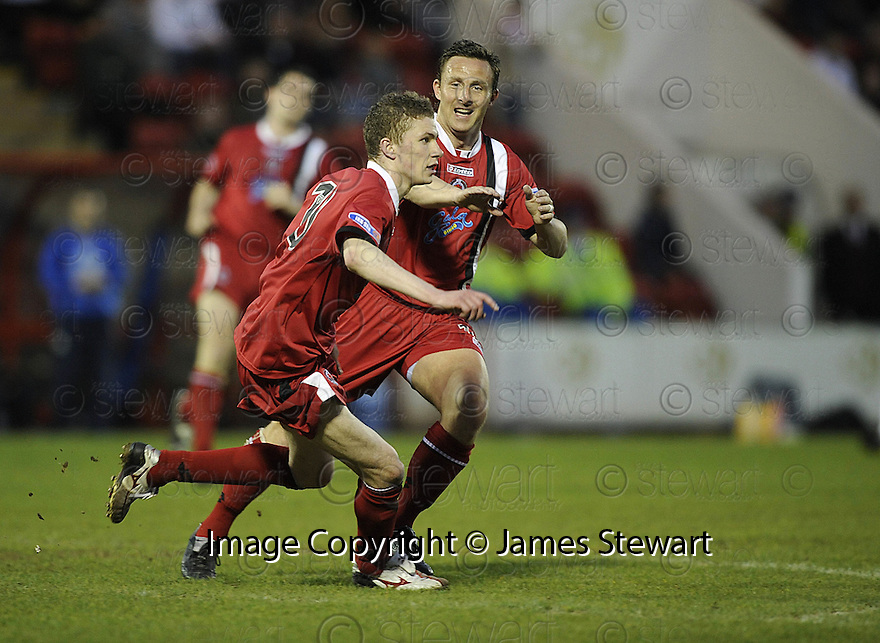 07/05/2008   Copyright Pic: James Stewart.File Name : sct_jspa07_airdrie_v_clyde.PAT CLARKE CELEBRATES WITH GARY MCSWEGAN AFTER HE SCORES CLYDE'S GOAL.James Stewart Photo Agency 19 Carronlea Drive, Falkirk. FK2 8DN      Vat Reg No. 607 6932 25.Studio      : +44 (0)1324 611191 .Mobile      : +44 (0)7721 416997.E-mail  :  jim@jspa.co.uk.If you require further information then contact Jim Stewart on any of the numbers above........