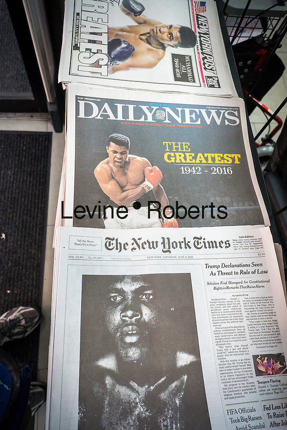 Front pages and headlines of the New York newspapers on Saturday, June 4, 2016 report on the previous day's death of boxing legend Muhammad Ali in Phoenix, AZ.  (© Richard B. Levine)
