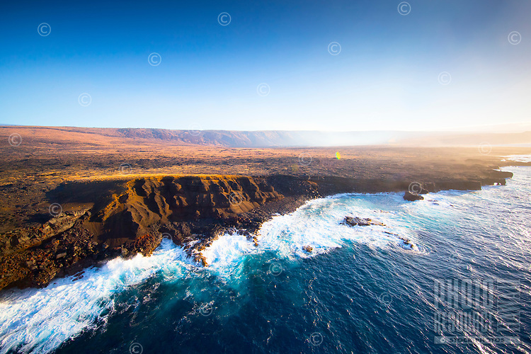 An aerial view of the southeastern coastline of Hawai'i Island.