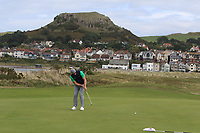 Peter O'Keeffe from Ireland on the 3rd green during Round 2 Singles of the Men's Home Internationals 2018 at Conwy Golf Club, Conwy, Wales on Thursday 13th September 2018.<br /> Picture: Thos Caffrey / Golffile<br /> <br /> All photo usage must carry mandatory copyright credit (&copy; Golffile | Thos Caffrey)