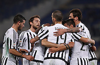 Calcio, Serie A: Lazio vs Juventus. Roma, stadio Olimpico, 4 dicembre 2015.<br /> Juventus&rsquo; Paulo Dybala, second from right, celebrates with teammates after scoring during the Italian Serie A football match between Lazio and Juventus at Rome's Olympic stadium, 4 December 2015.<br /> UPDATE IMAGES PRESS/Isabella Bonotto
