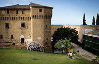 An old castle sits on top of Cesena about an hour east of Bologna in Italy. The Emilia-Romagna region of northern Italy is well known for their tradition of fresh pasta making as well as their flat bread sandwiches called piadina and roaming vineyards growing Sangiovese grapes...PHOTOS/ MATT NAGER
