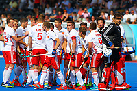 England players get ready for the start of the match during the Hockey World League Semi-Final Pool A match between England and Malaysia at the Olympic Park, London, England on 17 June 2017. Photo by Steve McCarthy.
