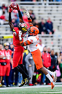 College Park, MD - OCT 27, 2018: Maryland Terrapins wide receiver Dontay Demus (7) grabs a pass over Illinois Fighting Illini defensive back Cameron Watkins (31) for a first down during game between Maryland and Illinois at Capital One Field at Maryland Stadium in College Park, MD. The Terrapins defeated Illinois to move to 5-3 on the season. (Photo by Phil Peters/Media Images International)
