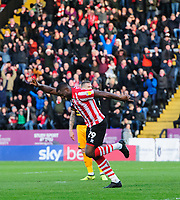 Lincoln City's John Akinde celebrates scoring the opening goal<br /> <br /> Photographer Chris Vaughan/CameraSport<br /> <br /> The EFL Sky Bet League Two - Lincoln City v Newport County - Saturday 22nd December 201 - Sincil Bank - Lincoln<br /> <br /> World Copyright © 2018 CameraSport. All rights reserved. 43 Linden Ave. Countesthorpe. Leicester. England. LE8 5PG - Tel: +44 (0) 116 277 4147 - admin@camerasport.com - www.camerasport.com