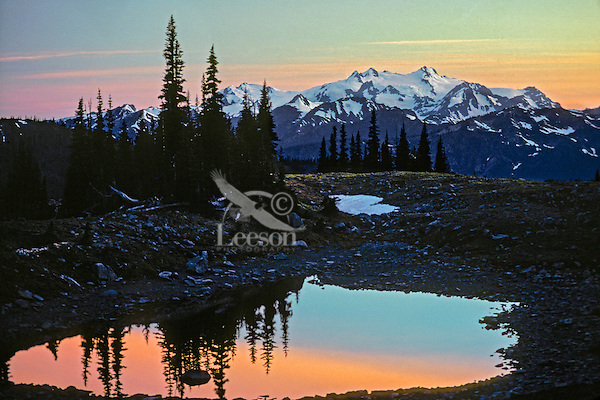 Mount Olympus and subalpine tarn at sunset.  Olympic National Park.  Summer.   View from near Obstruction Point.