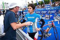 17 JUL 2011 - HAMBURG, GER - Barbara Riveros Diaz (CHI) talks with her coach Darren Smith before the start of the women's Hamburg round of triathlon's ITU World Championship Series .(PHOTO (C) NIGEL FARROW)