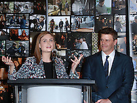 CENTURY CITY, CA, USA - NOVEMBER 14: Emily Deschanel, David Boreanaz pose at FOX's 'Bones' 200th Episode Celebration With The Cast And Producers held at the Fox Studio Lot on November 14, 2014 in Century City, California, United States. (Photo by David Acosta/Celebrity Monitor)