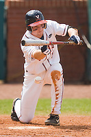 Phil Gosselin #5 of the Virginia Cavaliers tries to lay down a bunt against the Miami Hurricanes at the 2010 ACC Baseball Tournament at NewBridge Bank Park May 29, 2010, in Greensboro, North Carolina.  The Cavaliers defeated the Hurricanes 12-8.  Photo by Brian Westerholt / Four Seam Images