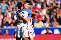 Cary, NC - Sunday October 22, 2017: Megan Rapinoe celebrates a goal with Lynn Williams during an International friendly match between the Women's National teams of the United States (USA) and South Korea (KOR) at Sahlen's Stadium at WakeMed Soccer Park.