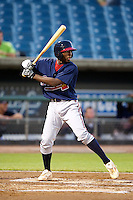 Third baseman Travis Demeritte #11 of Window Barrow High School in Winder, Georgia playing for the Atlanta Braves scout team during the East Coast Pro Showcase at Alliance Bank Stadium on August 1, 2012 in Syracuse, New York.  (Mike Janes/Four Seam Images)