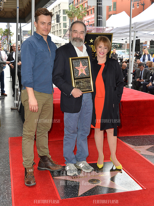 Rupert Friend, Mandy Patinkin &amp; Patti LuPone at the Hollywood Walk of Fame Star Ceremony honoring actor Mandy Patinkin on Hollywood Boulevard, Los Angeles, USA 12 Feb. 2018<br /> Picture: Paul Smith/Featureflash/SilverHub 0208 004 5359 sales@silverhubmedia.com