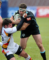 PICTURE BY MARK GREEN/SWPIX.COM...Rugby League - Carnegie Challenge Cup 4th Round  - London Broncos v Dewsbury Rams , 'The Stoop, Twickenham, England - 15/04/12... London Bronco's Chris Bailey is tackled