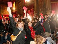Apertura Anno Giudiziario nel distretto di Napoli nello storico salone dei Busti di Castel Capuano<br /> la protesta del personale amministrativo con i cartellini rossi