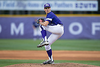 High Point Panthers starting pitcher Trevor Holloway (4) in action against the NJIT Highlanders during game two of a double-header at Williard Stadium on February 18, 2017 in High Point, North Carolina.  The Highlanders defeated the Panthers 4-2.  (Brian Westerholt/Four Seam Images)