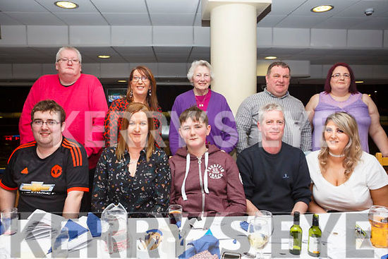 Luke McCrohan, seated centre from Ballyheigue, celebrating his 16th birthday with his family and friends in the Greyhound Track on Saturday night last.