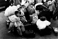 Undated file photo circa Dec 1942 - Japanese American children awaiting evacuation  in USA, after Japan attack on Pearl Harbour.
