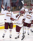 Kevin Hayes (BC - 12), Pat Mullane (BC - 11), Barry Almeida (BC - 9), Danny Linell (BC - 10) - The Boston College Eagles defeated the visiting Providence College Friars 4-1 (EN) on Tuesday, December 6, 2011, at Kelley Rink in Conte Forum in Chestnut Hill, Massachusetts.