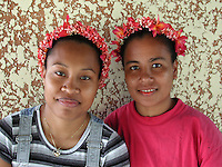 Teenage Yapanese girls, Yap, Micronesia.