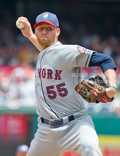 New York Mets relief pitcher Neil Ramirez (55) works in the seventh inning against the Washington Nationals at Nationals Park in Washington, D.C. on Tuesday, July 4, 2017.  The Nationals won the game 11 - 4.<br /> Credit: Ron Sachs / CNP<br /> (RESTRICTION: NO New York or New Jersey Newspapers or newspapers within a 75 mile radius of New York City)