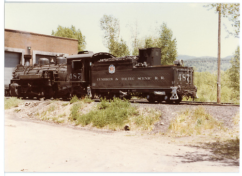 K-36 #487 at engine house in Chama.<br /> C&amp;TS  Chama, NM  Taken by Berkstresser, George