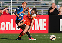 Kansas City, MO - Sunday July 02, 2017:  Janine Beckie steps around the defense of Shea Groom during a regular season National Women's Soccer League (NWSL) match between FC Kansas City and the Houston Dash at Children's Mercy Victory Field.
