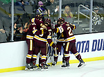 SIOUX FALLS, SD - MARCH 23: Minnesota Duluth celebrates their game tying goal in the third period against Mankato during their game at the 2018 West Region Men's NCAA DI Hockey Tournament at the Denny Sanford Premier Center in Sioux Falls, SD. (Photo by Dave Eggen/Inertia)