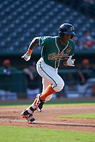 Osiris Johnson (1) of the Greensboro Grasshoppers hustles down the first base line against the West Virginia Power at First National Bank Field on August 9, 2018 in Greensboro, North Carolina. The Power defeated the Grasshoppers 5-3 in game one of a double-header. (Brian Westerholt/Four Seam Images)