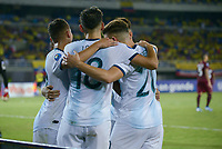 PEREIRA - COLOMBIA, 30-01-2020: Lautaro Bustos de Argentina celebra después de anotar el cuarto gol de su equipo durante partido entre Venezuela U-23 y Argentina U-23 por la fecha 5, grupo A, del CONMEBOL Preolímpico Colombia 2020 jugado en el estadio Hernán Ramírez Villegas de Pereira, Colombia. / Lautaro Bustos of Argentina celebrates after scoring the fourth goal of his team during match between Venezuela U-23 and Argentina U-23 for the date 5, group A, for the CONMEBOL Pre-Olympic Tournament Colombia 2020 played at Hernan Ramirez Villegas stadium in Pereira, Colombia. Photo: VizzorImage / Julian Medina / Cont
