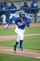 Erick Mejia (9) of the Rancho Cucamonga Quakes runs to first base during a game against the Lake Elsinore Storm at LoanMart Field on April 10, 2016 in Rancho Cucamonga, California. Lake Elsinore defeated Rancho Cucamonga, 7-6. (Larry Goren/Four Seam Images)