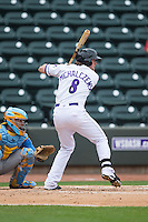Trey Michalczewski (8) of the Winston-Salem Dash at bat against the Myrtle Beach Pelicans at BB&T Ballpark on May 10, 2015 in Winston-Salem, North Carolina.  The Pelicans defeated the Dash 4-3.  (Brian Westerholt/Four Seam Images)