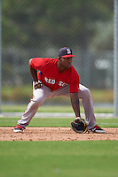 Boston Red Sox Josh Ockimey (18) during an instructional league game against the Minnesota Twins on September 26, 2015 at CenturyLink Sports Complex in Fort Myers, Florida.  (Mike Janes/Four Seam Images)