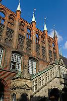 Rathaus (13.-16. Jh.) in Lübeck, Schleswig-Holstein, Deutschland,  Unesco-Weltkulturerbe