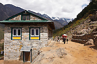 A building on the Everest Base Camp Trail in Nepal exhibits the hand cut, meticulous stonework of the local construction.