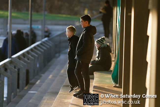 Blyth fans watching the teams warm up. Blyth Spartans v Brackley Town, 30112019. Croft Park, National League North. Photo by Paul Thompson.