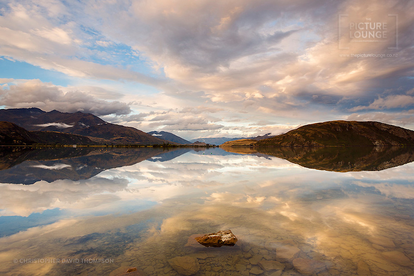 Gorgeous reflections in Parkins Bay, Wanaka taken by Wanaka-based fine art landscape photographer Christopher David Thompson at one of his best and favourite local shooting spots.