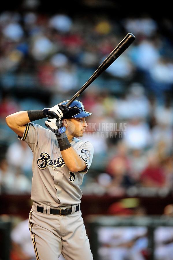 May 7, 2010; Phoenix, AZ, USA; Milwaukee Brewers outfielder (8) Ryan Braun against the Arizona Diamondbacks at Chase Field. The Brewers defeated the Diamondbacks 3-2. Mandatory Credit: Mark J. Rebilas-