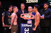 Sunny Edwards (L) and Hiram Gallardo during a Weigh In at the BT Studios, Queen Elizabeth Olympic Park on 12th July 2019