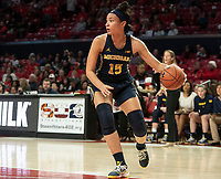 COLLEGE PARK, MD - DECEMBER 28: Hailey Brown #15 of Michigan moves up court. during a game between University of Michigan and University of Maryland at Xfinity Center on December 28, 2019 in College Park, Maryland.
