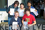 WAIT: Delight the wait is over for their leaving results said students from Castleisland Community College on Wednesday. Front l-r: Liam Griffin (Cordal) and Sean Daly (Farranfore). Back l-r:John Kerins (Farranfore),Megan Browne (Scartaglin) and Nazmal Alau(Castleisland)...