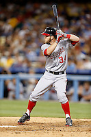 Bryce Harper #34 of the Washington Nationals bats against the Los Angeles Dodgers at Dodger Stadium on May 13, 2013 in Los Angeles, California. (Larry Goren/Four Seam Images)