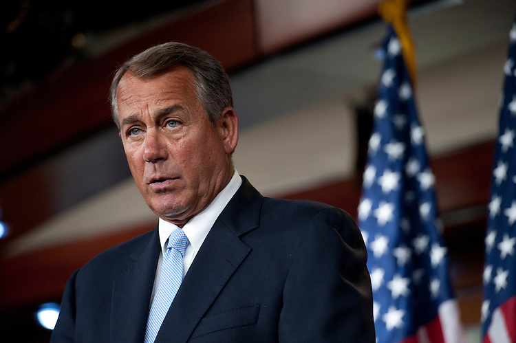 UNITED STATES - May 16: Speaker of the House John Boehner, R-OH., during his weekly press conference on Capitol Hill on May 16, 2013.(Photo By Douglas Graham/CQ Roll Call)