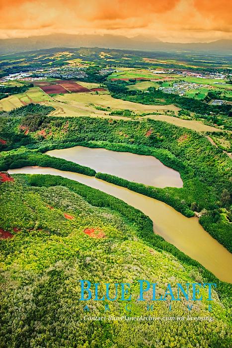 freshwater, Hule`ia Stream and Menehune or Alekoko Fishpond, built speculatively 1,000 years ago by ancient Hawaiian, Nawiliwili, Kauai, Hawaii, Pacific Ocean