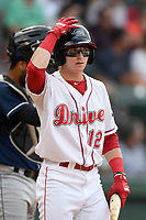 Designated hitter Brett Netzer (12) of the Greenville Drive bats in a game against the Asheville Tourists on Wednesday, August 2, 2017, at Fluor Field at the West End in Greenville, South Carolina. Greenville won, 1-0. (Tom Priddy/Four Seam Images)