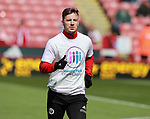 Lee Evans of Sheffield Utd wears a Weston park Charity t-shirt during the championship match at the Bramall Lane Stadium, Sheffield. Picture date 14th April 2018. Picture credit should read: Simon Bellis/Sportimage