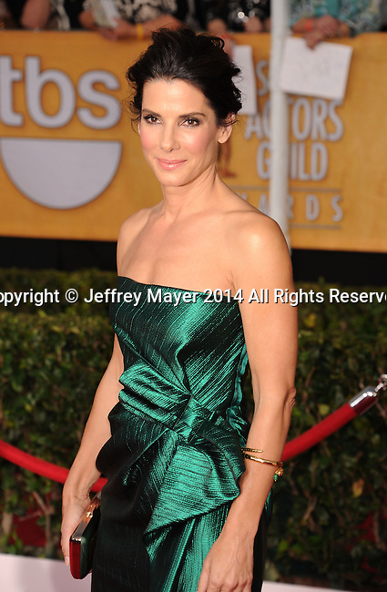 LOS ANGELES, CA- JANUARY 18: Actress Sandra Bullock arrives at the 20th Annual Screen Actors Guild Awards at The Shrine Auditorium on January 18, 2014 in Los Angeles, California.