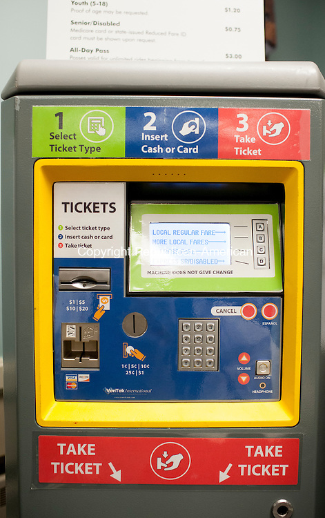 CHESHIRE, CT-21 January 2015-012115EC03-  One of the CTfastrak ticket kiosks set up at Cheshire Town Hall Wednesday night. Erin Covey Republican-American