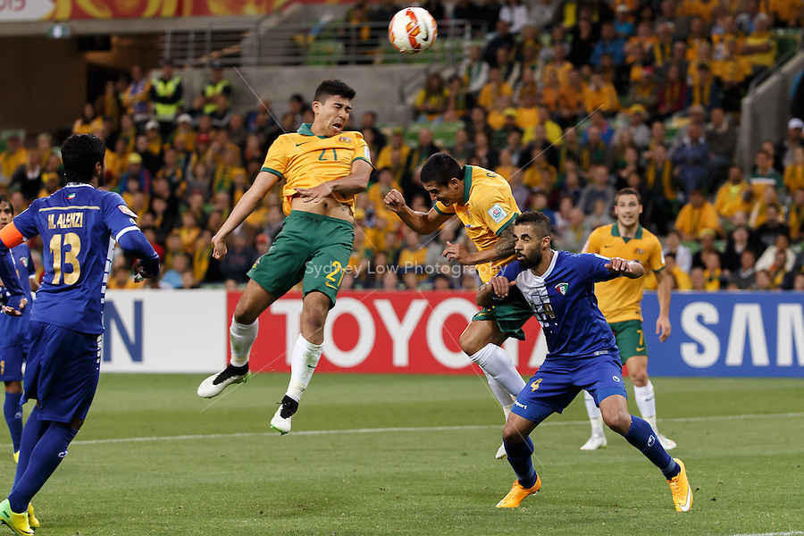 Massimo LUONGO of Australia heads a goal in match 1 of the 2015 AFC Asian Cup at the Melbourne Rectangular Stadium on 9 January 2015. Australia def Kuwait 4-1