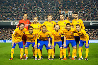 VALENCIA, SPAIN - DECEMBER 5: Barcelona team during BBVA LEAGUE match between Valencia C.F. and FC Barcelona at Mestalla Stadium on December 5, 2015 in Valencia, Spain