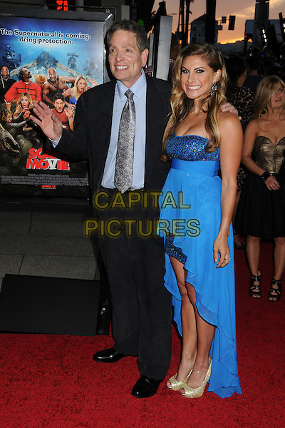 "David Zucker, Marisa Saks.Attending the ""Scary Movie 5"" Los Angeles film premiere held at the Cinerama Dome,  Hollywood, California, USA, .11th April 2013..full length  blue shirt grey gray suit tie hand waving strapless dress .CAP/ADM/BP.©Byron Purvis/AdMedia/Capital Pictures"